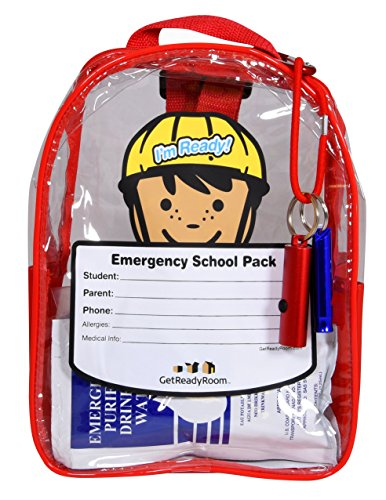 Children's School Emergency Backpack - Waterproof Clear Backpack with Light, First Aid, Emergency Essentials - Send Them On Their Way Prepared for Emergencies