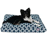 Navy Blue Links Medium Rectangle Indoor Outdoor Pet Dog Bed With Removable Washable Cover By Majestic Pet Products