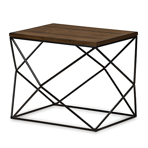 - Baxton Studio Roger Metal & Wood Occasional End Table