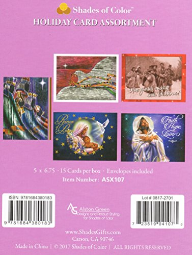 Search : Shades of Color Assorted Box of African American Holiday Cards, 15 Cards and Envelopes, 5 x 6.75 inches (ASX107)