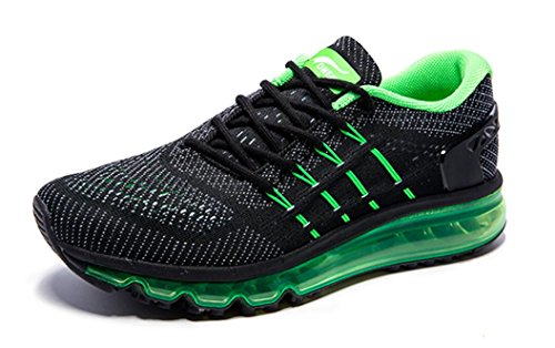 ONEMIX Men's Air Running Shoes, Light Gym Outdoor Walking Sneakers Black Green Size 11 D(M) US Review