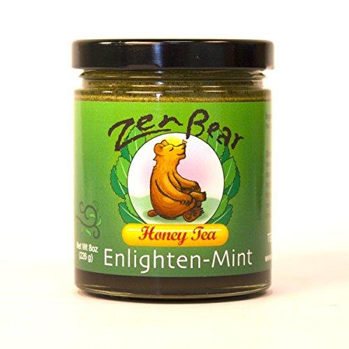 (Enlighten-Mint | Herb Infused Raw Honey Tea with Wildflower Honey, Green Tea,Spearmint Leaves, Peppermint | Enjoy the essence of green tea enlivened with the freshness of spearmint leaves | 8 OZ jar)