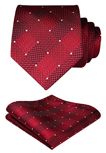 (HISDERN Extra Long Check Tie Handkerchief Men's Necktie & Pocket Square Set (Red & White))