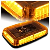 High Intensity LED Magnetic Base Rooftop Emergency Hazard Warning Strobe Lights - Amber