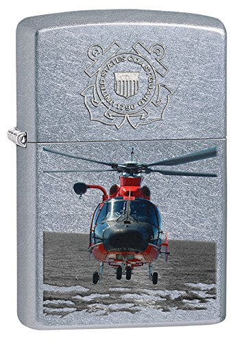 Zippo US Coast Guard Helicopter Street Pocket Lighter, Chrome