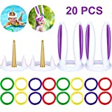 Blulu 20 Pieces Inflatable Ring Toss Game Kit 2 Inflatable Unicorn Ring Toss Hat 2 Rabbit Ear Hat and 16 Colored Inflatable Rings Floating Swimming Ring Toss for Pool Games