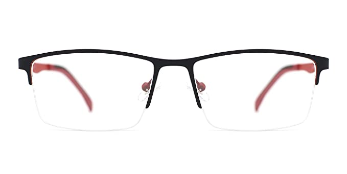 a054967575 Image Unavailable. Image not available for. Color  TIJN Classic Thinned-out Rectangle  Semi-rimless Eyeglasses Half Rimed Frame