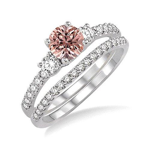 Enorme 2,50 quilates Morganite y diamante juego de anillos de boda en oro blanco de 14 K asequible Morganite y diamante anillo de compromiso: Amazon.es: ...
