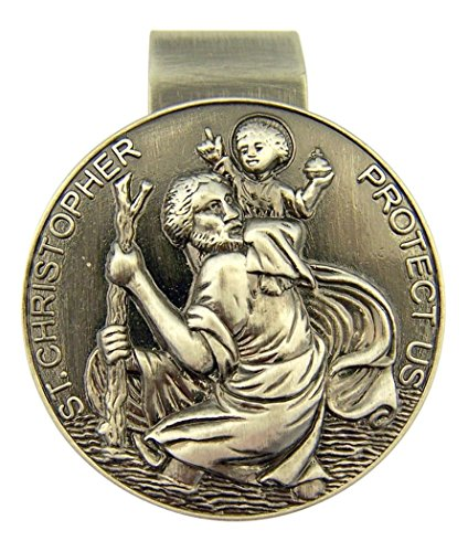 - D-Trading Pewter Protect Us on Our Journey Auto Visor Clip - Saint Christopher with Christ Child