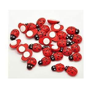 Stream Mini self adhesive Stick en madera rojo Craft diseño de mariquitas
