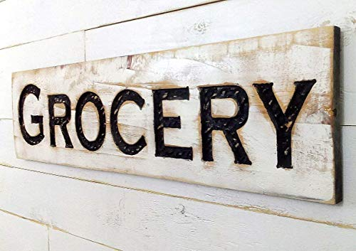 """Grocery Sign - 40""""x10"""" Carved in a Wood Board Rustic Distressed Shop Advertisement Farmhouse Decor Wooden Fixer Upper Style"""
