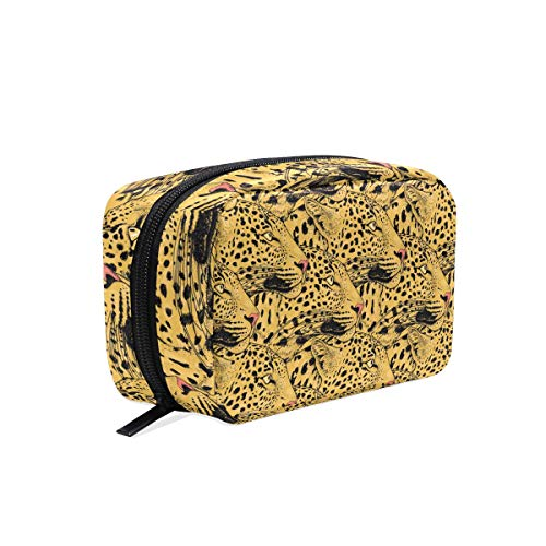 Makeup Bag Abstract Animal Leopard Face Pattern Cosmetic Pouch -
