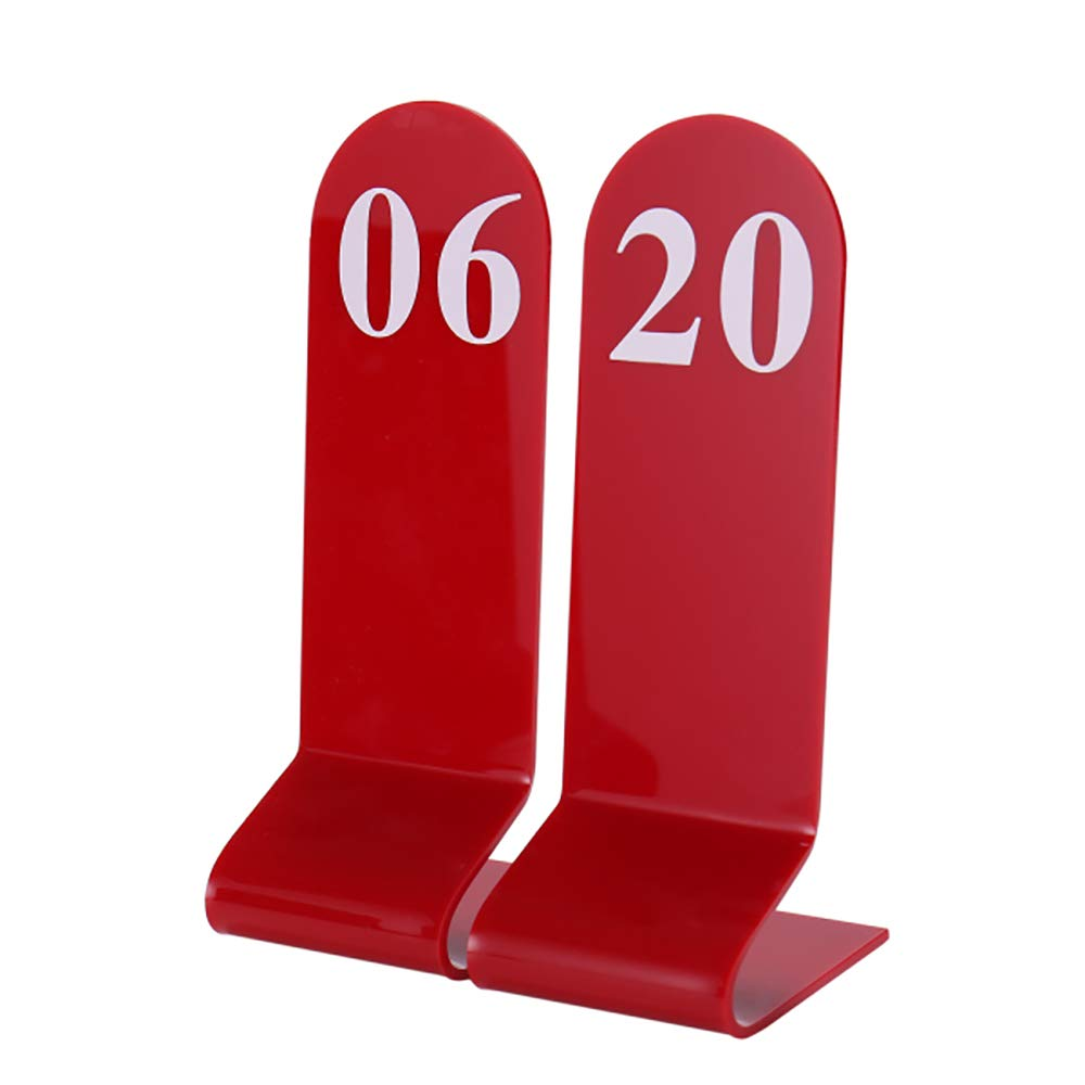 Aspire 10PCS Acrylic Table Numbers, Tent Style Numbers Sign, Table Number Card for Restaurant Wedding Reception-Red-Number 1to10 by Aspire