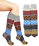 Handknit Turkish Style Over The Calf Socks Slipper Grey Red size 6 -9
