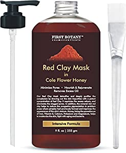 Red Clay Honey Mask 9 fl oz for Anti Aging Facial Treatment, Facial Cleanser, Pore Reducer, Anti Aging Mask, Acne Treatment, Blackhead Remover, Cellulite Treatment & Natural Moisturizer