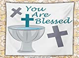 Baptism Decorations Fleece Throw Blanket First Holy Communion Theme with Crosses Greeting Child Welcoming Illustration Throw
