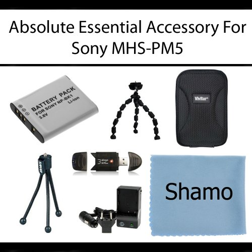 Absolute Essential Accessories Kit For Sony MHS-PM5 Bloggie HD Video Camera Includes Extended Replacement NP-BK1 Battery + AC/DC Rapid Travel Charger + Hard Case + USB SD Card Reader + Flexible Tripod + Screen Protectors + More -  SONYMHSPM1