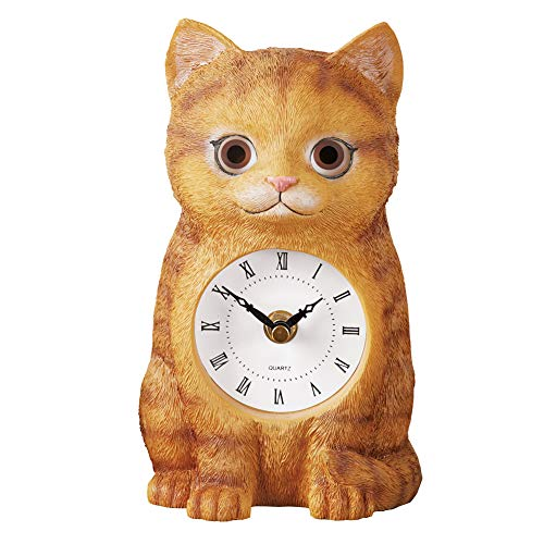 Collections Etc Cute Cat Clock Statue with Moving Eyes, Elegant Roman Numerals