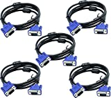 6ft VGA SVGA Male to Male 15-Pin Monitor Video Cable 1.8 Meters HD-15M [5-Pack]