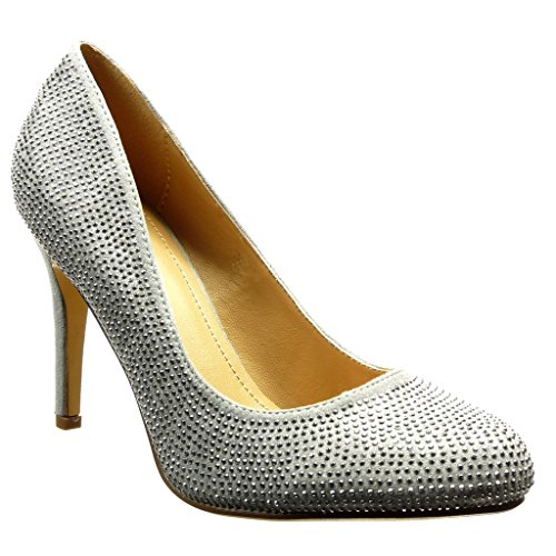 Angkorly - damen Schuhe Pumpe - Stiletto - Sexy - Strass Stiletto high heel 9.5 CM Silber
