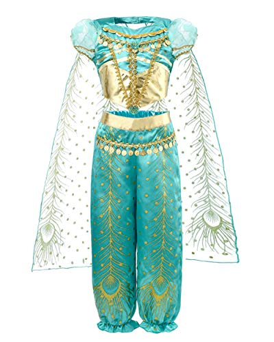 Great Costumes 2019 (JiaDuo Girls Princess Jasmine Costume Party Halloween Dress Up 9-10)