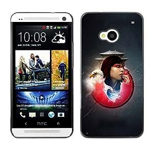 TopCaseStore / la caja del caucho duro de la cubierta de protección de la piel - Bald Eagle Samurai Girl - HTC One M7
