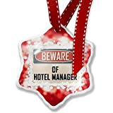 Christmas Ornament Beware Of Hotel Manager Vintage Funny Sign, red - Neonblond