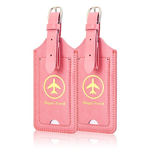 [2 Pack]Luggage Tags, ACdream Leather Case Luggage Bag Tags Travel Tags 2 Pieces Set, Light Pink