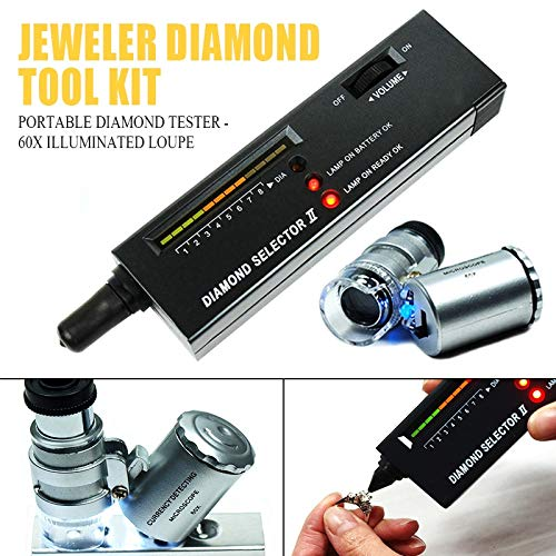 David Franklin - Portable High Accuracy Jeweler Diamond Tester Tool Kit 60X Illuminated Loupe Jewelry Watcher Tool by David Franklin