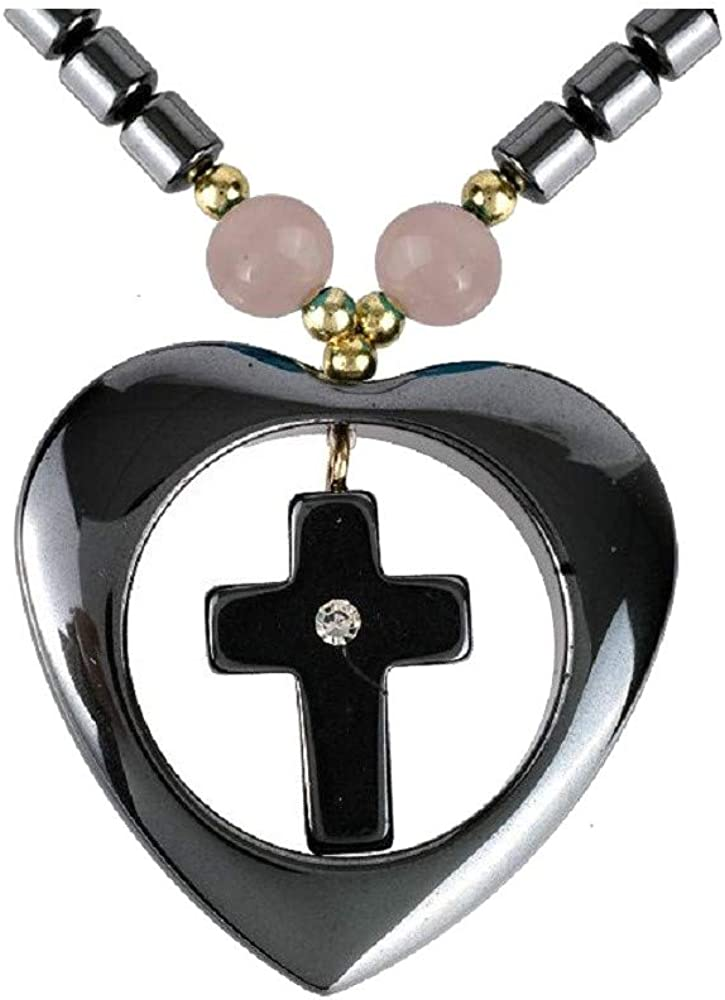 Schmuck-Krone - Cadena con colgante de corazón y cruz de cuarzo rosa
