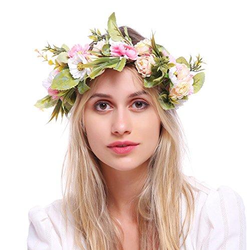 Pink Renaissance Headband - Love Sweety Rose Flower Headband Floral Crown Garland Halo (1# Light Pink)