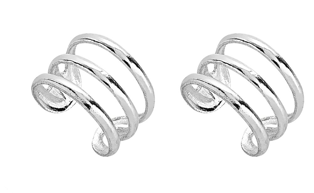 925 Sterling Silver Three (3) Band of Bars No Pierce Ear Cuff Wrap Earrings, Set of Two (2), 9 x 6mm