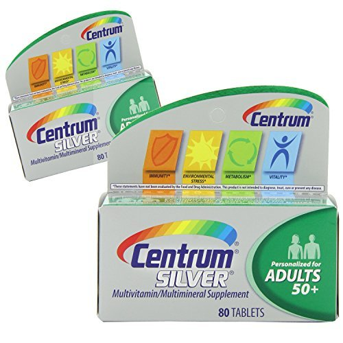 (2 Pack) Centrum Silver Multivitamin/Multimineral Supplement Adults 50+, 80 Count ea.