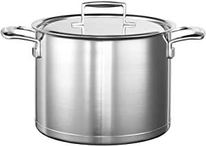 KitchenAid Stockpot with Stainless Steel Lid, 24cm, 7,5L, 24x24x13 cm, Silver