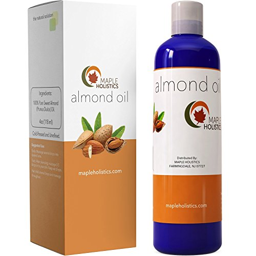 Pure Sweet Almond Oil for Skin Face and Hair Great Massage & Aromatherapy Carrier Oil Anti Aging Skin Moisturizer and Hair Conditioner Treatment Beauty Oil for Dryness with Antioxidant Vitamin (Almond Sweet Pure Carrier Oil)