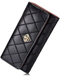 Billetera de mujer - Elegante billetera con broche de corona - Billetera larga de cuero