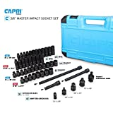 Capri Tools 3/8-Inch Drive Master Impact Socket Set with Adapters and Extensions, Premium Chrome Molybdenum Steel, 48-Piece