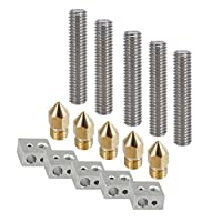 Soosee 5pcs 30MM Length Extruder 1.75mm Tube + 5pcs 0.4mm Brass Extruder Nozzle Print Heads + 5pcs Aluminum Heater Block Extruder Kit for MK8 M6 Makerbot Reprap 3D Printers from Soosee