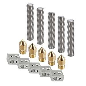 SODIAL Parte de la impresora 3D Cada boquilla extrusora de 5PC 0.4mm + tubo de garganta de teflon 1.75mm + bloques calentadores Hotend para MK8 ...