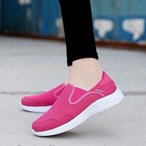 Zapatos Zapatos Fondo Madre Antideslizantes Femeninos Zapatos Hasag Zapatos Planos Transpirable de Zapatos de Suave Malla Ancianos Deportivos Rose de fqawR8v