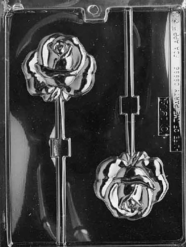 Cybrtrayd Life of the Party F060 Rose Lolly Flower Chocolate Candy Mold in Sealed Protective Poly Bag Imprinted with Copyrighted Cybrtrayd Molding Instructions