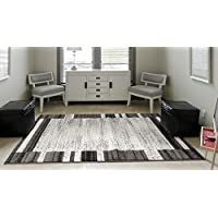 ADGO Milano Collection Modern Contemporary Geometric Framed Striped Design Jute Backed Area Rugs High Pile Soft and Fluffy Indoor Floor Rug, Living Dining Bedroom Black Grey, 3