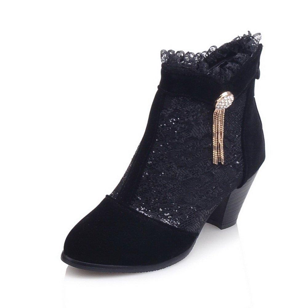 AdeeSu Girls Metal Chain Outdoor Chunky Heels Outdoor Chain Short Plush Boots B06XW1ZG3H Boots 23e01d