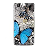 Silicone Case for Doogee X5/X5 Pro, Turpro Soft Slim TPU Silicone Rubber Floral Case Cover with Colorful Painting for Doogee X5/X5 Pro (Blue Butterfly)
