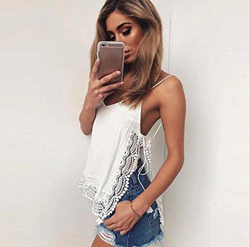 Baymate Mujeres Elegante Ganchillo Camiseta de Tirantes Verano Chaleco Sin Mangas Tops Blusa Camiseta Blanco