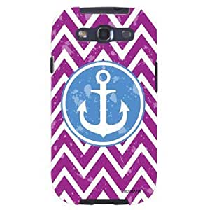 Purple Chevron Nautical Blue Boat Anchor Unique Quality Soft Rubber TPU Case for Samsung Galaxy S3 SIII i9300 - White Case