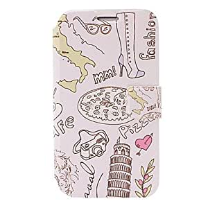 Italy Leaning Tower of Pisa Pattern Leather Case with Holder & Card Slots for Samsung Galaxy Note 2/N7100