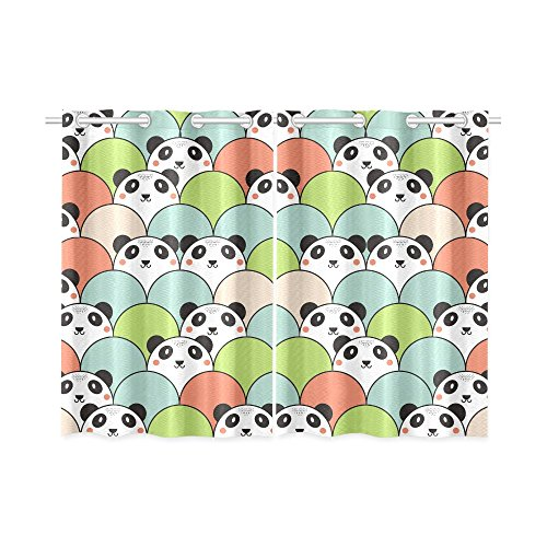 your-fantasia Animal Cartoon Pandas Window Curtain Kitchen Curtain Two Pieces 26 x 39 inches by your-fantasia