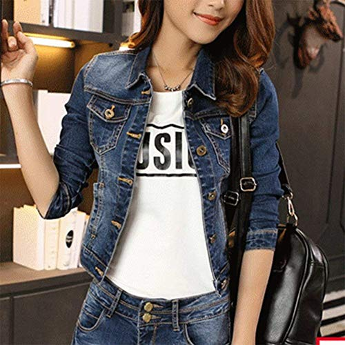 Giovane Blau Primaverile Breasted Giubotto Outwear Bavero Autunno Donna Slim Casuale Vintage Fit Women Fashion Denim Jacket Eleganti Lunga Manica Single Blu Jeans Corto Cappotto wgq7p4