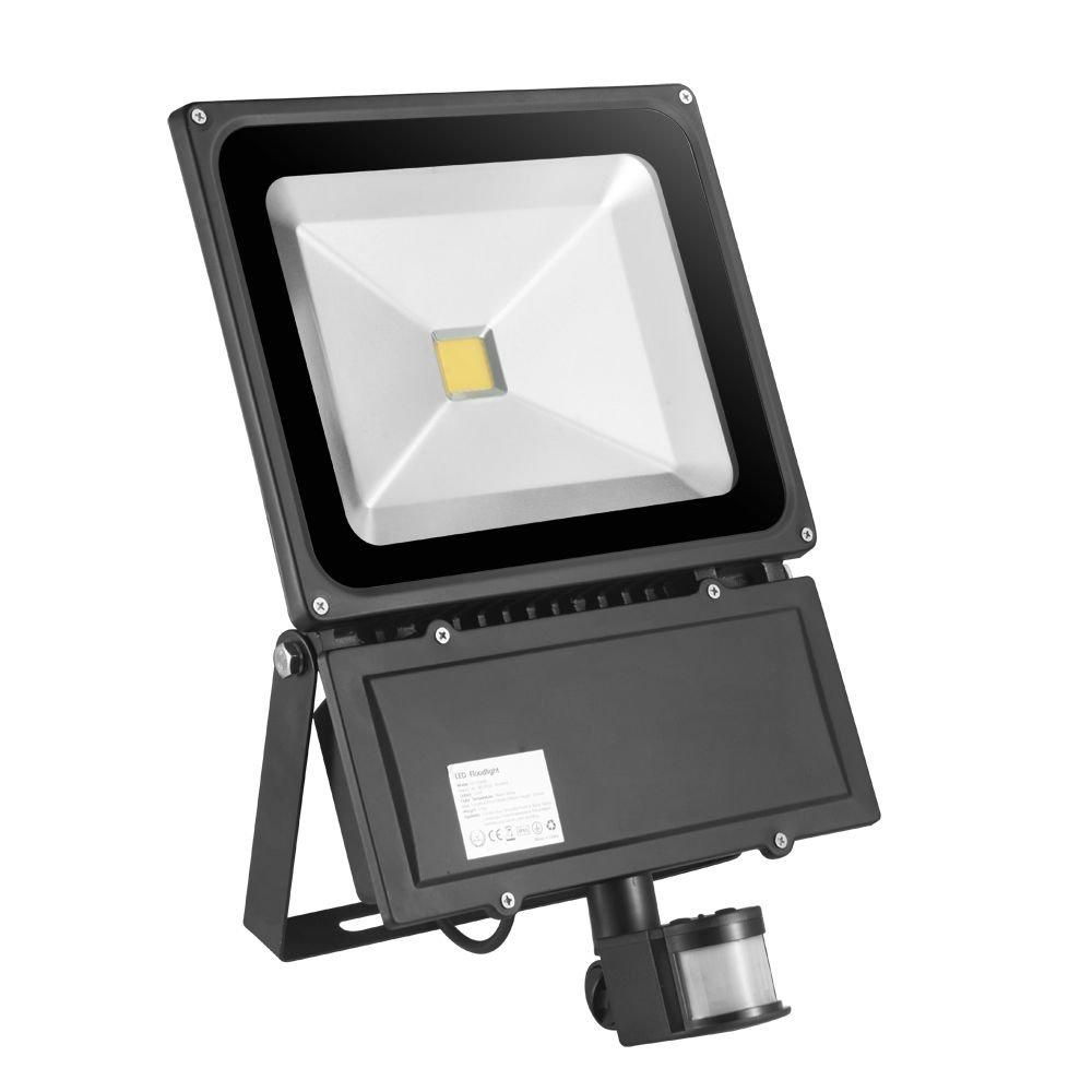 100w TEquem LED 100W Fluter mit Bewegungsmelder 900lm Strahler Warmweiß IP65 Wasserdicht sensor außenleuchten led Flutlicht Scheinwerfer Außenleuchten
